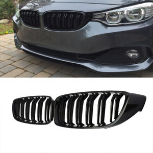 Gloss Black Dual Slat Front Bumper Grille Grill For Bmw F32 F36 F82 4 Series
