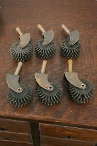 Vintage Caster Wheels Set Of 6 Spike Claw Industrial Steampunk Cart Table Old