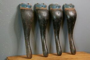 Set Of 4 Curved Metal Industrial Legs Medical Cabinet Stove Coffee Table Vtg