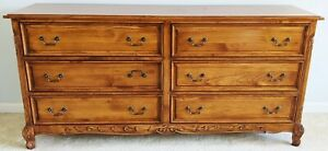 Antique 20th C French Provincial Style 6 Drawer Chest Double Dresser Commode