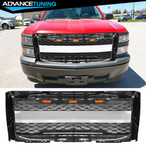 Fits 14 15 Chevy Silverado 1500 Front Bumper Hood Mesh Grille Gloss Black