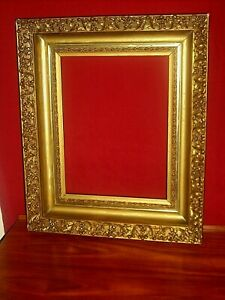 Antique Ornate Gold Gilt Carved Floral Scroll Gesso Wood Picture Frame 18 X 15