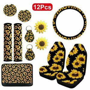 12pc Sunflower Car Truck Seat Cover Protector Accessories Universal Shoulder Pad