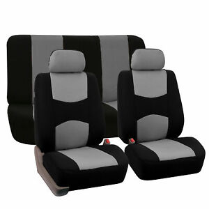Premium Sport Car Seat Cover Front Rear Set Gray Black For Car Truck Suv