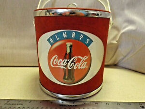 RARE RED Vintage Felt Covered Coca-Cola Ice Bucket With Lid Made In The USA euc