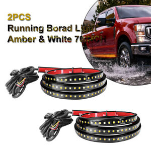 2x 70 Running Board Side Step Led Light Amber White Turn Signal Drl Strip Bar