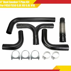 Universal 4 Black Turbo Diesel Dual Smoker Exhaust Stack T Pipe System Kit