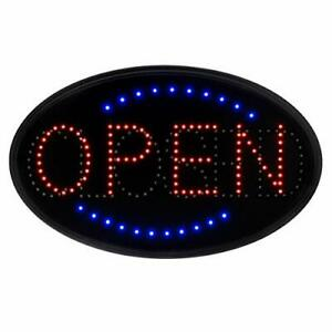Led Open Closed Sign Oval Electric Commercial Lighted Signage Board For Salon