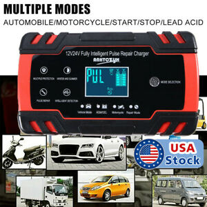 LCD Car ATV 12V 24V Volt Motorcycle Pulse Repair Battery Charger AGM Automatic