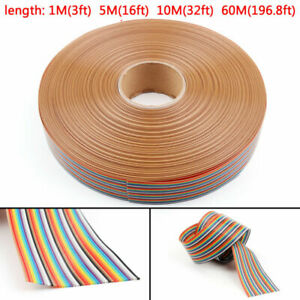 10 12 14 16 20 26 30 34 40pin Color Rainbow Ribbon Wire Cable Flat 1 27mm A6