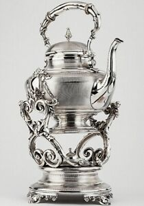 19c Antique French Silver Sterling Tea Coffee Pot Kettle Samovar Urn Hot Water