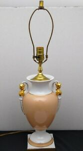 Vintage Neoclassical Peach Pastel Urn Style Table Lamp With Busty Women Figures
