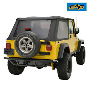 Eag Rear Bumper With 2 Hitch Receiver Steel Tube Fit 87 06 Jeep Wrangler Yj
