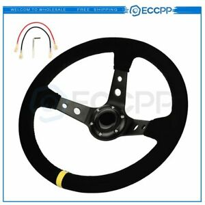 350mm Deep Dish 6 Bolt Sport Racing Steering Wheel Suede Leather Horn Button