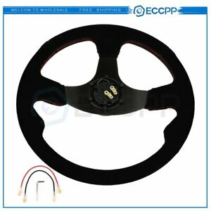 14 Dished Black Stitching Suede Sport Steering Wheel W Horn Button