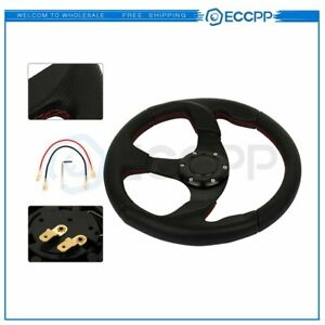 320mm Black Spoke Red Stitch Lightweight 6 bolt Leather Racing Steering Wheel