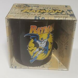 Vintage Batman Coffee Mug DC Comics 12oz. Batman Signal On Back NOS   A 3