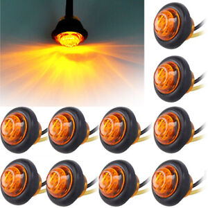 10pcs Amber 3 4 Bullet Clearance Side Marker Truck Rv Van Trailer Led Lights Us