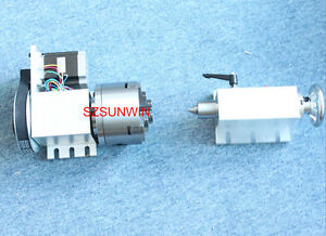 Cnc Router Rotational Rotary A axle 4th axis 4 jaw 100mm With Tailstock Chuck
