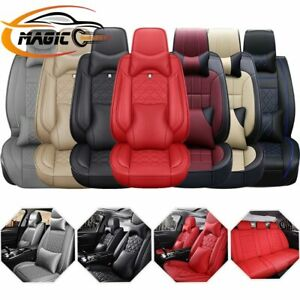 12pc Interior Pu Leather Car Seat Cover Protector Waterproof Universal 5 seat Us