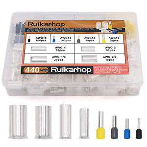 Ruikarhop 440pcs Awg 2 0 1 0 2 4 10 12 14 16 Wire Ferrules Kits Crimp Terminal