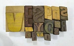Letterpress Letter Wood Type Printers Block lot Of 16 Typography eb 206