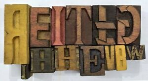Letterpress Letter Wood Type Printers Block lot Of 13 Typography eb 214