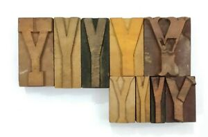 Letterpress Letter Wood Type Printers Block y Lot Of 9 Typography eb 113