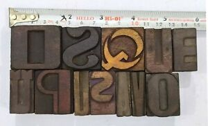 Letterpress Letter Wood Type Printers Block lot Of 12 Typography eb 208