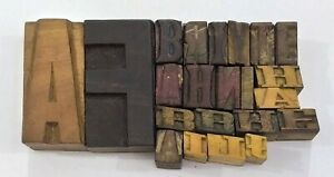 Letterpress Letter Wood Type Printers Block lot Of 22 Typography eb 223