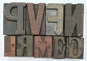 Letterpress Letter Wood Type Printers Block lot Of 9 Typography eb 219