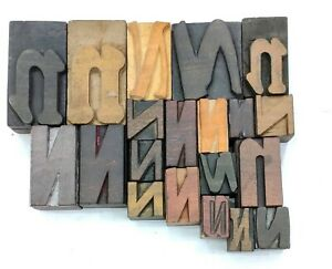 Letterpress Letter Wood Type Printers Block n Lot Of 20 Typography eb 110
