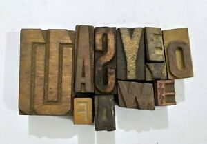 Letterpress Letter Wood Type Printers Block lot Of 11 Typography eb 207