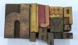 Letterpress Letter Wood Type Printers Block lot Of 12 Typography eb 203