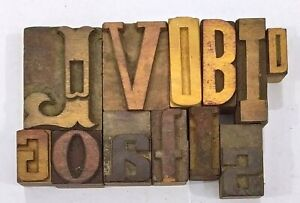 Letterpress Letter Wood Type Printers Block lot Of 12 Typography eb 205