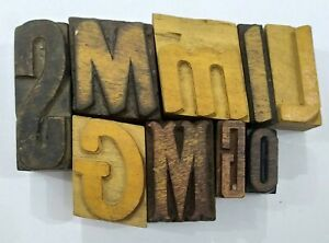 Letterpress Letter Wood Type Printers Block lot Of 9 Typography eb 220