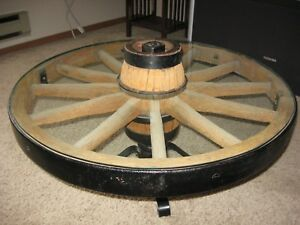 Antique Wagon Wheel Coffee Table