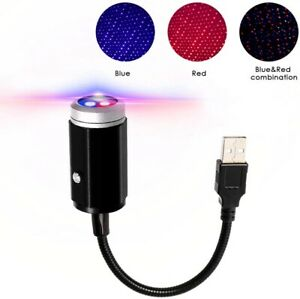 Usb Car Interior Led Light Red Blue Roof Night Sky Lamp Star Projector Lights