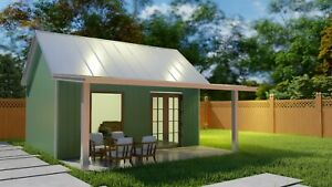 Backyard Office Granny Flat Tiny Home Kit 270 Sq Ft W Front Porch Easy To Diy
