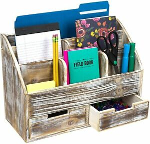 Rustic Wood Office Desk Organizer Includes 6 Compartments And 2 Drawers brown