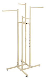 4 way Clothing Rack With Straight Arms off White Ivory