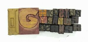 Letterpress Letter Wood Type Printers Block lot Of 21 Typography eb 165