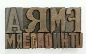 Letterpress Letter Wood Type Printers Block lot Of 14 Typography eb 150