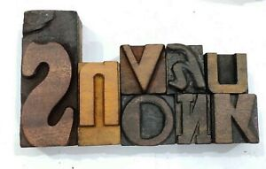 Letterpress Letter Wood Type Printers Block Lot Of 8 Typography eb 63