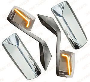 Qsc Performance Led Chrome Hood Mirror Door Mirror Covers Pair For Volvo Vnl