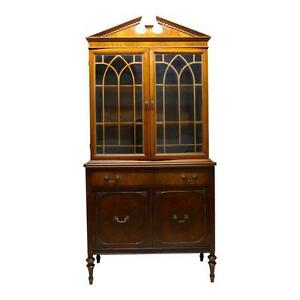 Vintage Elegant Timeless China Cabinet Hutch Book Case With Glass Doors