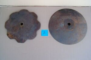 2 Large Vintage Plow Disc Blades 17 18 Old Farm Equipment Parts Steampunk