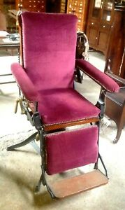 Rare 1860 s Cast Iron Swivel Reclining Doctor s Medical Exam Chair Dentist B