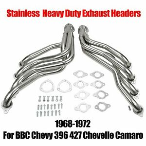 Heavy Duty Headers Coated Fit 1968 1972 Bbc Chevy 396 427 Chevelle Camaro Silver