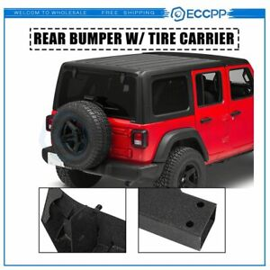Rear Bumper With Tire Carrier D Ring For 2007 2018 Jeep Wrangler Jk Matte